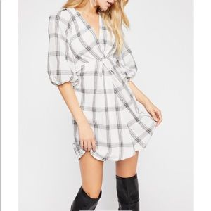 Free People Miss Molly Black And White plaid dress
